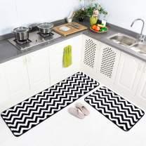 "Carvapet 2 Pieces Microfiber Chevron Non-Slip Soft Kitchen Mat Bathroom Rug Set Water Absorbent Bath Runner Carpet Set, 20""x63""+20""x31"", Black"