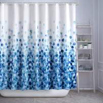 FAMILYDECOR Blue Fabric Shower Curtain Set for Bathroom Waterproof Bath Curtains with Hooks, 84 Inches Extra Long, Blue White