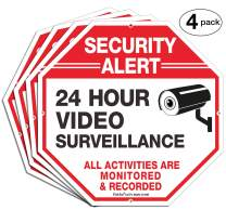 """(4 Pack)""""Security Alert, 24 Hour Video Surveillance, All Activities Monitored"""" Signs,10 x 10 .040 Aluminum Reflective Warning Sign for Home Business CCTV Security Camera, Indoor or Outdoor Use"""