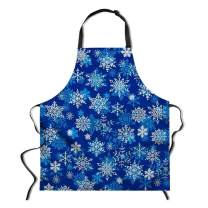 "Dellukee Funny Christmas Apron for Women Men Blue Snowflakes Printed Kitchen Adjustable Neck Unique Cool Waterproof Aprons for Home Restaurant BBQ Grill, 29.5"" x 26.3"""