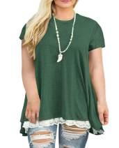 Women's Plus Size Curve Lace Trim Short Sleeve A-Line Tunic Top Casual Loose Flowy T-Shirt
