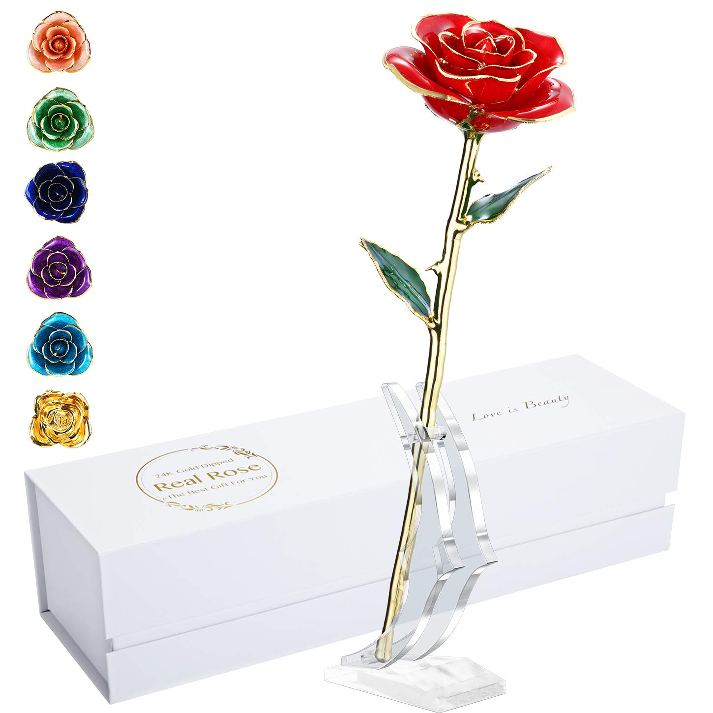 maxspt 24K Gold Rose, Gold Dipped Rose Made from Real Rose Best Gifts for her and Great Gifts for Wife, with Stand