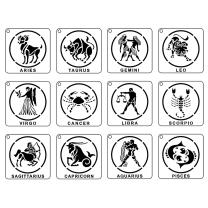 12 Constellation Stencils for Painting, 5.9inch Square Shape Zodiac Astrology Sign Symbol Stencils, Flexible Clear Plastic for DIY Painting Art Scrapbook