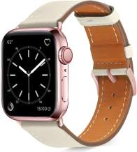 Pierre Case Compatible with iWatch Bands 38mm 40mm Womens for Apple Watch Band Series 6 SE 5 4 3 2 1, Pierre Case Durable Genuine Leather Replacement Strap, Adjustable Stainless Metal Clasp(White, 38mm 40mm)