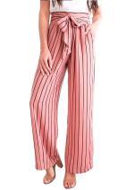 Womens Elegant Belted Striped High Waisted Split Flowy Wide Leg Pants Grey Black Navy