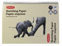 Derwent Sketch Pad, A3, Landscape, 16.54 x 11.69 Inches Sheet Size, Wirebound, 30 Sheets (2300141)