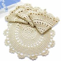 kilofly Handmade Crochet Round Cotton Lace Table Placemats Doilies Value Pack [Set of 4], Medallion, 13.3 x 13.0 inch, Beige