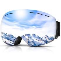 DADA-PRO Ski Goggles, Men Women Snowboard Goggles Over Glasses OTG Anti Fog Frameless Jet Snow, UV Protection Sunglasses