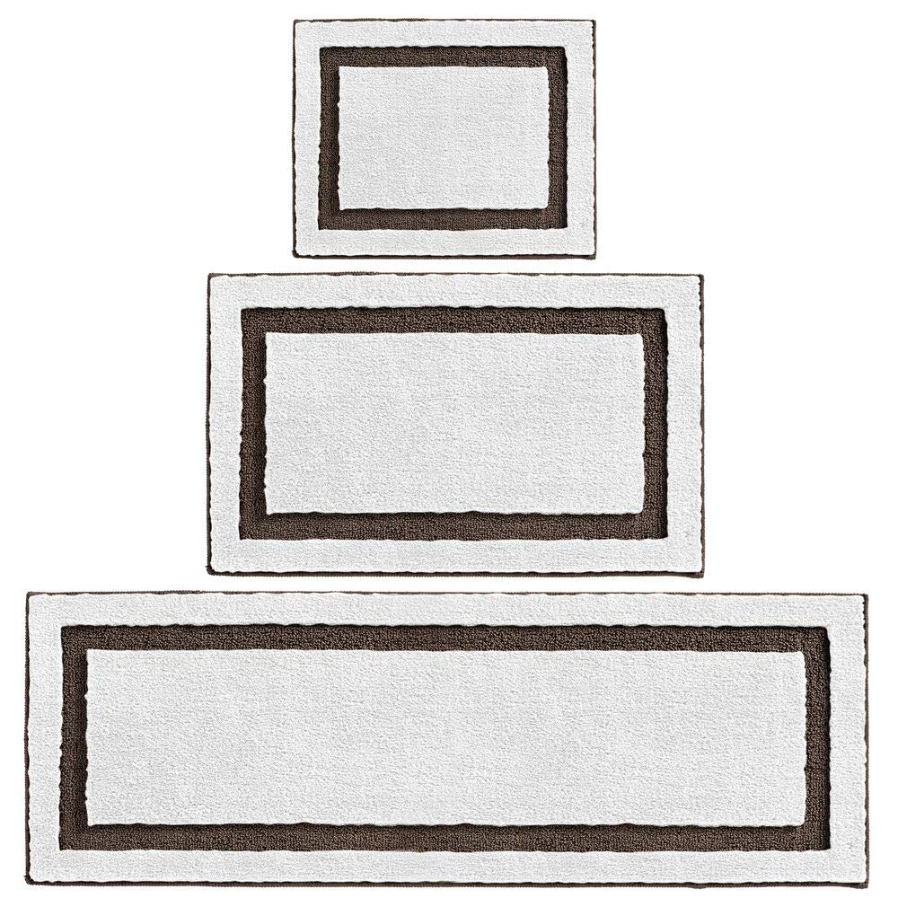 mDesign Soft Microfiber Polyester Spa Rugs for Bathroom Vanity, Tub/Shower, Water Absorbent, Machine Washable, Includes Plush Non-Slip Rectangular Accent Rug Mats, 3 Sizes, Set of 3 - White/Chocolate