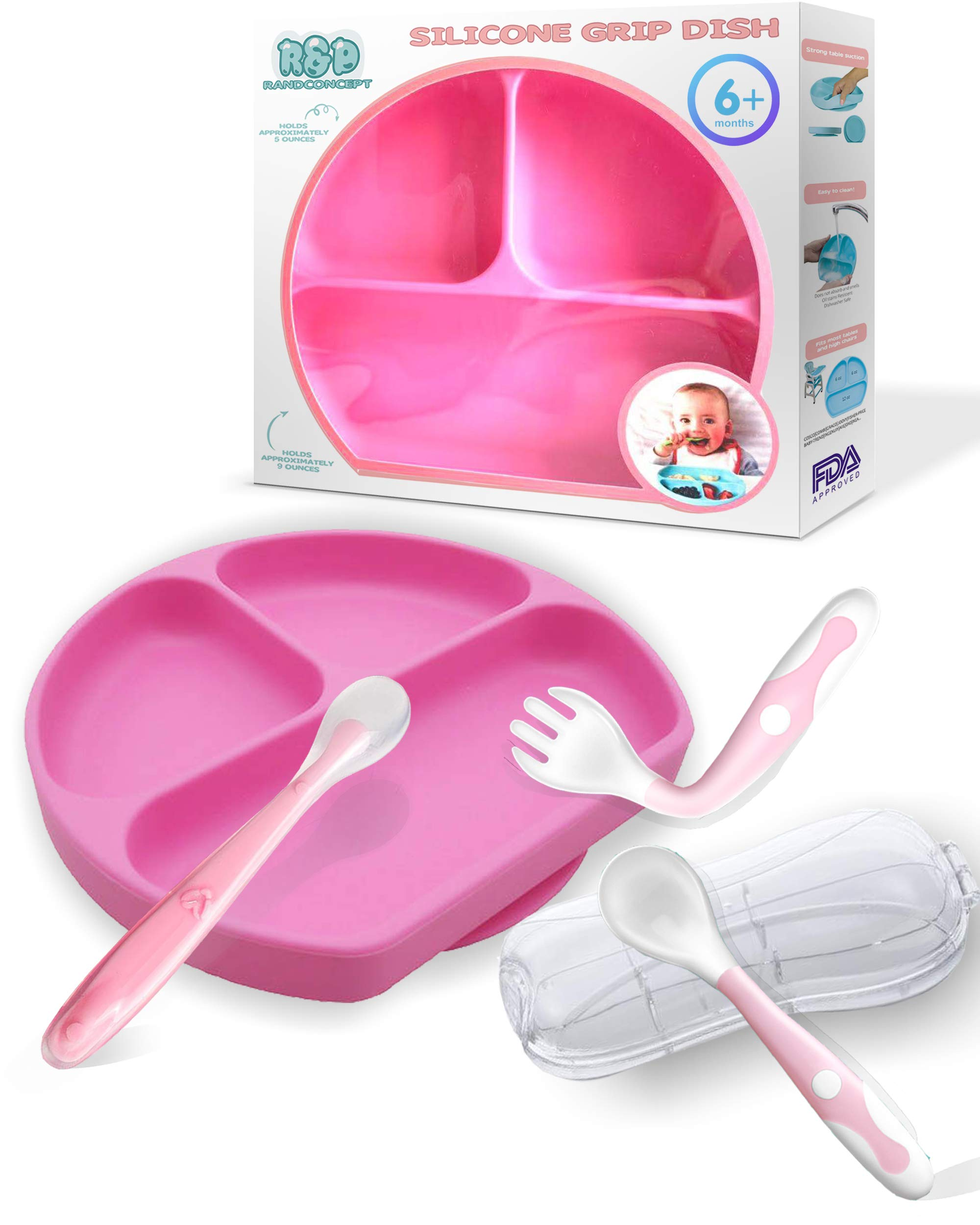 Baby Feeding Set - Silicone Suction Plate for Toddlers, Baby Spoon First Stage, Spoon and Fork Set (Pink)