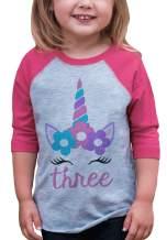 7 ate 9 Apparel Girls Three Birthday Unicorn Raglan Tee Pink