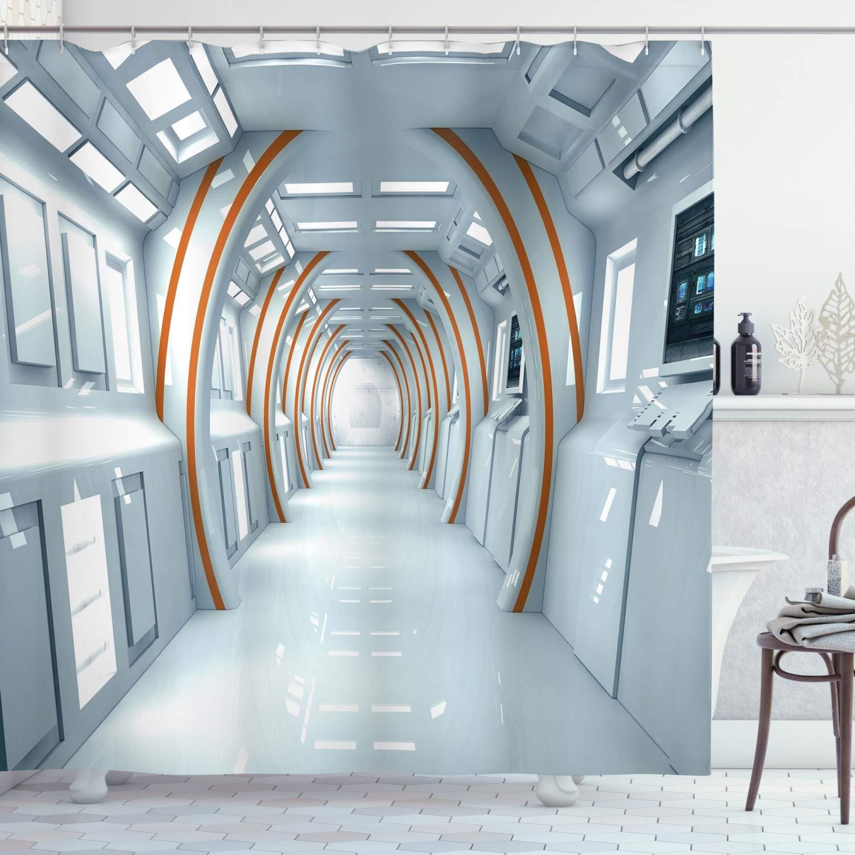 "Ambesonne Fantasy Shower Curtain, Futuristic Hallway of Spaceship Digital Architecture Sci Fi Style Inner View, Cloth Fabric Bathroom Decor Set with Hooks, 70"" Long, Blue Orange"