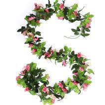 HEJIAYI 3 Pack 96 Inch Rose Vine Silk Flower Garland Artificial Flowers Plants Leaf Vine for Home Wedding Decoration (Pink)