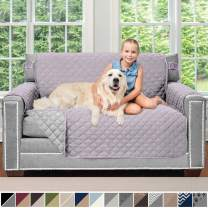 Sofa Shield Original Patent Pending Reversible Loveseat Protector for Seat Width up to 54 Inch, Furniture Slipcover, 2 Inch Strap, Couch Slip Cover Throw for Pets, Dogs, Love Seat, Purple Lt Gray