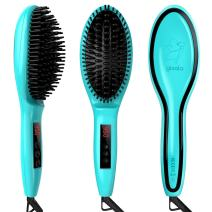 Gisala Metal Ceramic Heater Hair Straightening Brush, Auto Lock, Anti Scald, Zero Damage, Adjustable Temperature, Instant Heat Up Professional Hair Straightener (cyan)