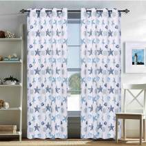 oremila Window Curtain Panel for Patio - Grommet Top Water Repellent Multicolor Seashell Conch Printed Indoor/Outdoor Drape for Front Porch/Seaside, Single Panel