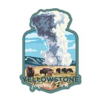 Lantern Press Yellowstone National Park, Wyoming - Old Faithful and Bison Herd - Contour 91637 (Vinyl Die-Cut Sticker, Indoor/Outdoor, Small)