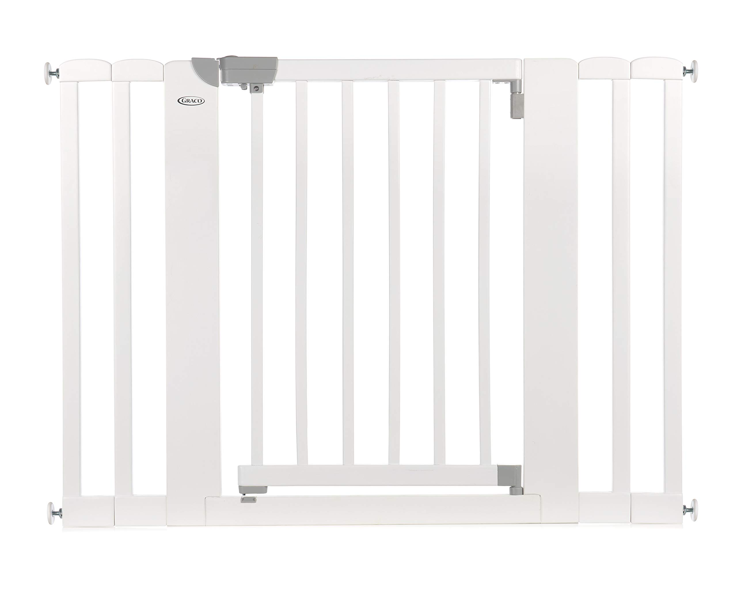 """Graco Safespace Walk-Through Wooden Safety Gate - Expands from 29-43.75"""", 30"""" Tall, Includes 4 Extensions, Pressure Mounted Walk Thru Baby Gate, Perfect for Children & Pets, White"""