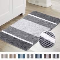 Super Cozy Chenille Microfiber Bathmat, Gradient Grey Stripe Pattern Soft Chenille Shaggy Rug for Bathroom, Slip-Resistant Absorbent Bathroom Floor Mat Machine Washable, (20×32 inch, Gray)