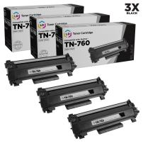 LD Compatible Toner Cartridge Replacement for Brother TN760 High Yield (Black, 3-Pack)
