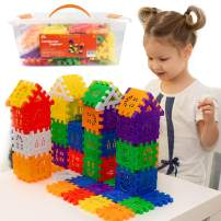 RAINBOW TOYFROG Waffle Blocks for Toddlers & Kids 96 Pcs– STEM Building Toys with Plastic Storage Container – 3 Years Old & Up