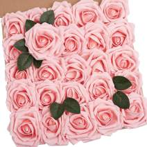 N&T NIETING Artificial Flowers Roses Bulk, 25pcs 3.74in Large Size Real Touch Artificial Foam Roses with Stem for Cake Decoration, Wedding Bridal Bouquets Centerpieces, Party Home Display-Light Pink