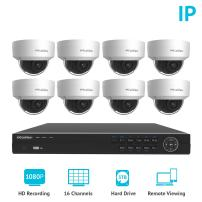 LaView 1080P 2MP HD IP 8 Weatherproof Dome Camera Security System 16 Channel PoE 1080P NVR with a 3TB HDD Indoor/Outdoor Cameras Day/Night Surveillance System with Remote Viewing