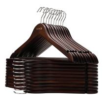 VEEYOO Solid Wooden Suit Hangers (Set of 20) - Non-Slip Bar & Extra Thick Chrome Hook - Sturdy and Durable Coat Jacket Dress Clothes Hangers, Retro Finish