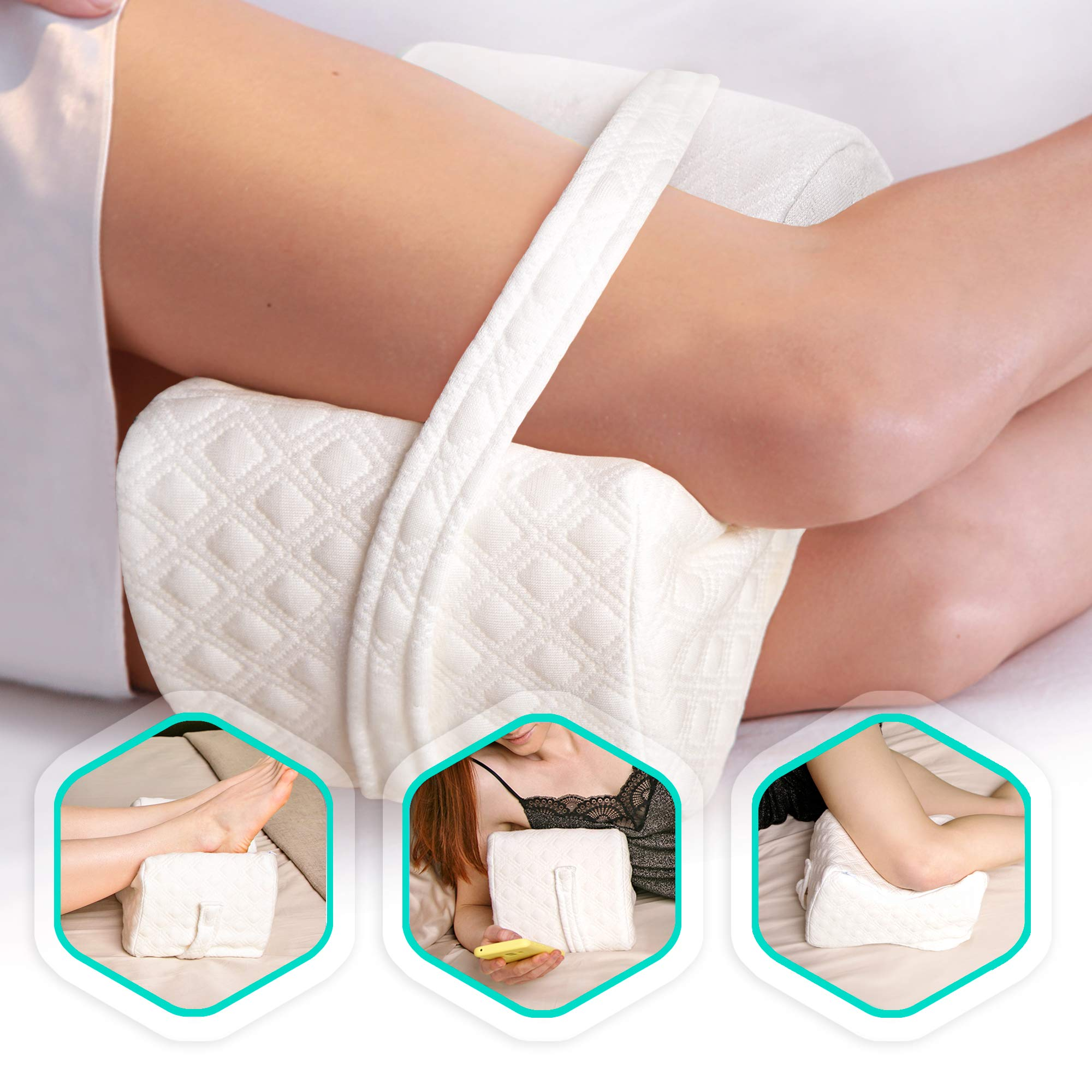 AERIS Knee Pillow for Side Sleepers -%100 Memory Foam Leg Pillow for Sleeping - Helps with Back & Hip Pain, Sciatica Pain Relief, Restless Leg Syndrome, Scoliosis - Great Between Legs When Sleeping