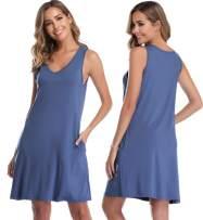Vlazom Sleepwear Womens Nightgown Sleeveless Sleep Shirt Lounge Dress Pockets V Neck Nightshirt