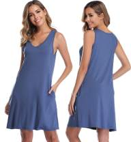 Vlazom Sleepwear Womens Nightgown Sleeveless Sleep Shirt Lounge Dress Pockets V Neck Nightshirt