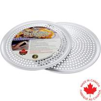 Crown Pizza Pan with Holes 16 inch, 2 Pack, Heavy Duty, Rust Free, Pure Aluminum, Easy to Clean, Perforated Pizza Pan