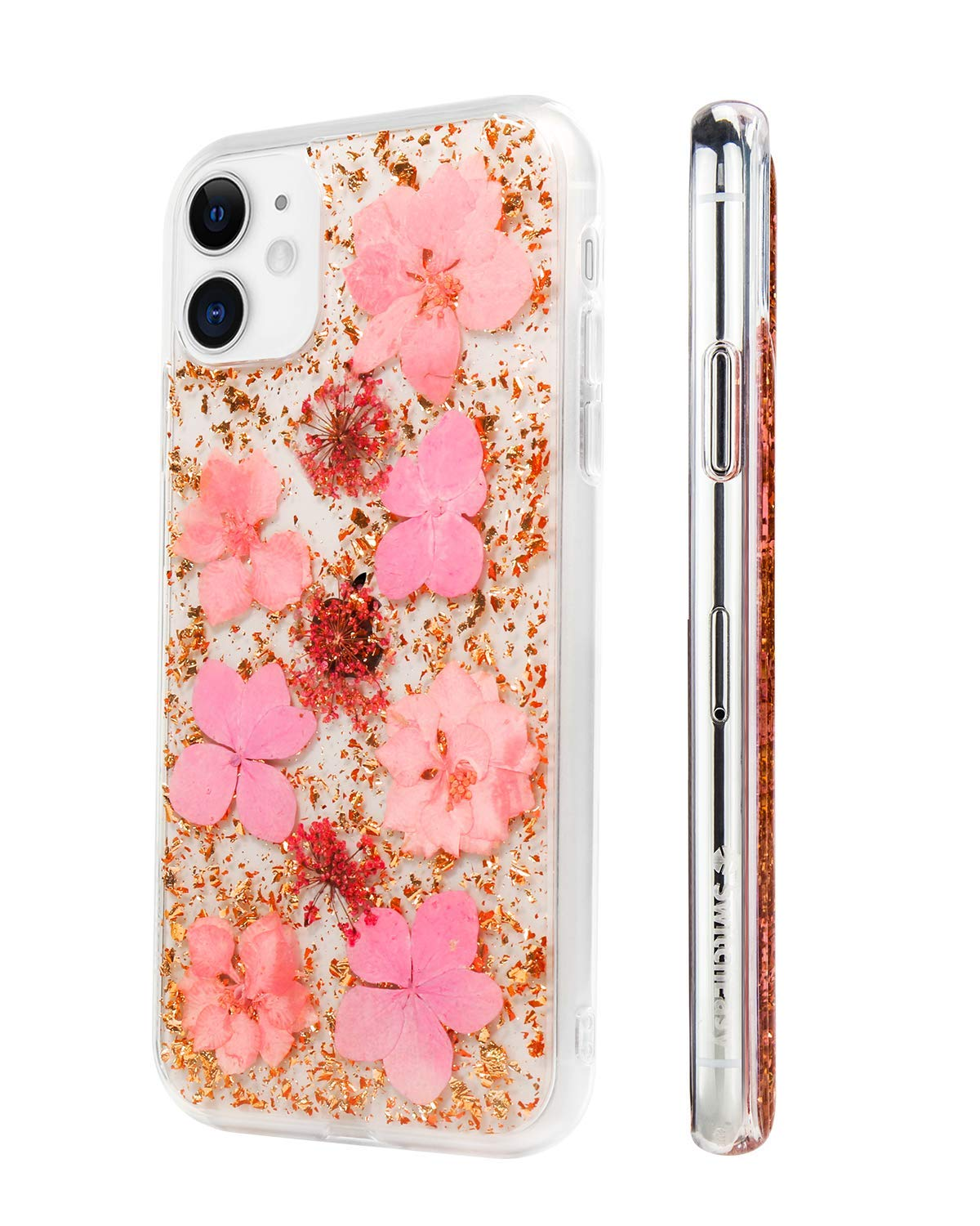 """SWITCHEASY iPhone 11 Clear Case Flash Floral iPhone Hard Case Back Cover for Lady, Transparent Clear Flexible Rubber Pressed Real Genuine Dried Flowers and Seashell (Luscious, 2019 iPhone 6.1"""")"""