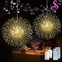 Firework String Lights,198 LED 4 Sounds 8 Mode Starburst Lights with Remote Control,Waterproof String Lights Battery Operated for Living Room,Bedroom,Party,Wedding Decoration (2pc,Warm White)