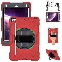 GROLEOA iPad Mini 4/5 Case, [Full-Body] Drop Proof Hybrid Armor Case with 360 Rotating Stand [Pencil Holder] Hand Strap Shoulder Strap for iPad Mini 5th/4th Generation 7.9'(Red+Black)