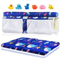 Bath Kneeler and Elbow Rest Set, 1.5 inch Thick Kneeling Pad Elbow Support for Knee Arm Support Large Bathtub Kneeling Mat with Pockets Organizer 6 Toys for Happy Baby Bathing Time (Blue)