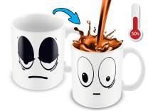 Color Changing Mug | 11 Oz Ceramic Heat Changing Mug With Funny White Wake Up Cartoon Smiley Face | Great For Him Or Her, Gift For Mom Or Dad | Unique Heat Sensitive Mug