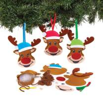 Baker Ross AT181 Reindeer Decoration Sewing Kits (Pack of 3) -Christmas Arts and Crafts, Assorted
