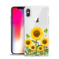 Unov Case Clear with Design Slim Protective Soft TPU Bumper Embossed Flower Pattern Protective Back Cover for iPhone Xs Max 6.5 Inch(Sunflower Blossom)