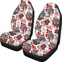 INSTANTARTS Rose Flower Print 2 Piece Durable Comfortable Car Interior Seats Covers