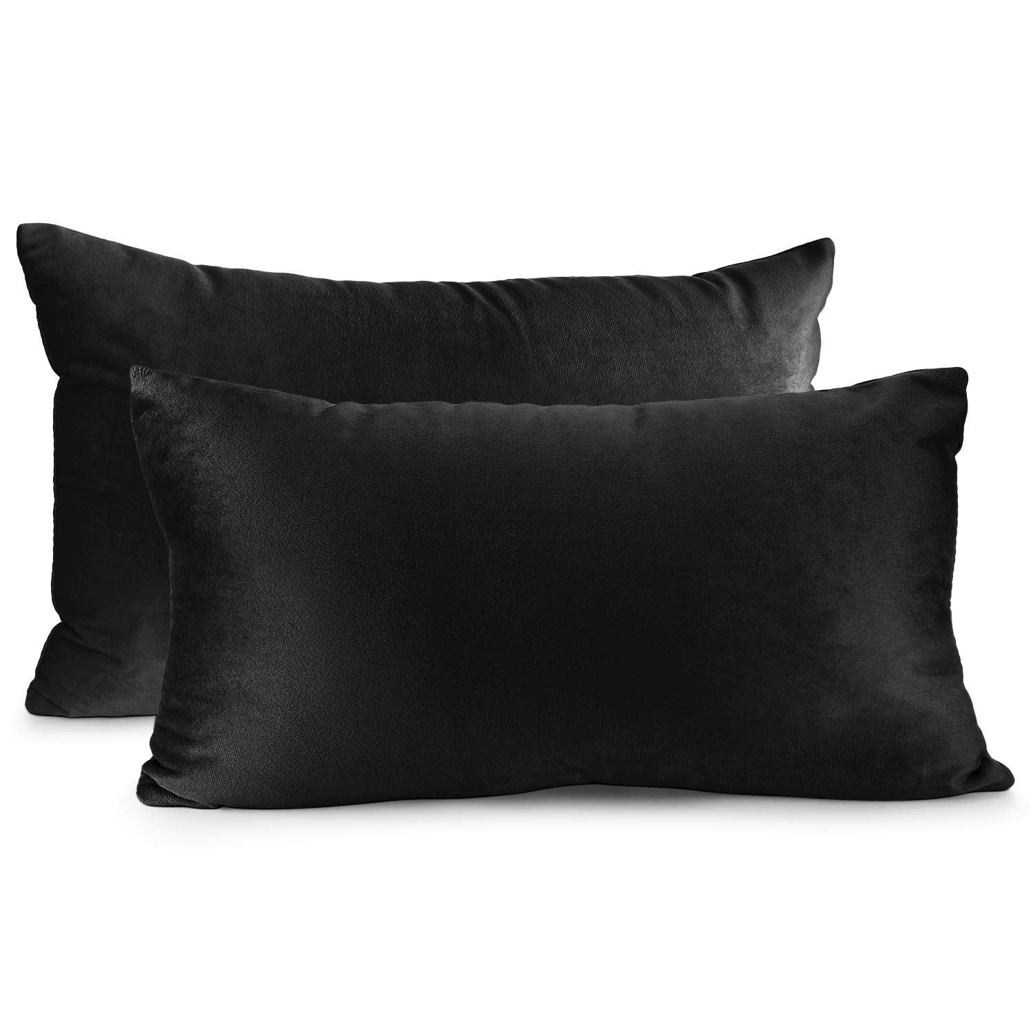 """Nestl Bedding Throw Pillow Cover 12"""" x 20"""" Soft Square Decorative Throw Pillow Covers Cozy Velvet Cushion Case for Sofa Couch Bedroom, Set of 2, Black"""