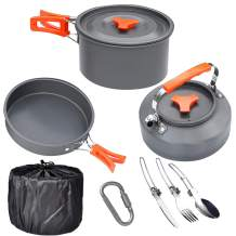 JEGERMIG Portable Camp Cookware Kit, Lightweight Backpacking Mess Kit 2 People, Nonstick Outdoor Open Fire Cookware Set for Hiking Picnic, Camping Pans for fire, Mess kit for Camping