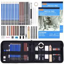 Drawing Pencils Set,52 Pack Professional Sketch Pencil Set in Zipper Carry Case,Drawing Kit Art Supplies with Graphite Charcoal Sticks Tool Sketch Book for Adults Kids Drawing Sketching by Shuttle Art