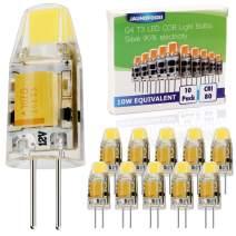 JAUHOFOGEI 10pcs G4 Bi Pin Base 1W LED COB Bulbs (Daylight White 6000K), 12V AC DC, 10W Glass Halogen Light Bulb Replacement, JC T3 for Under Cabinet Puck Light, Landscape Lighting