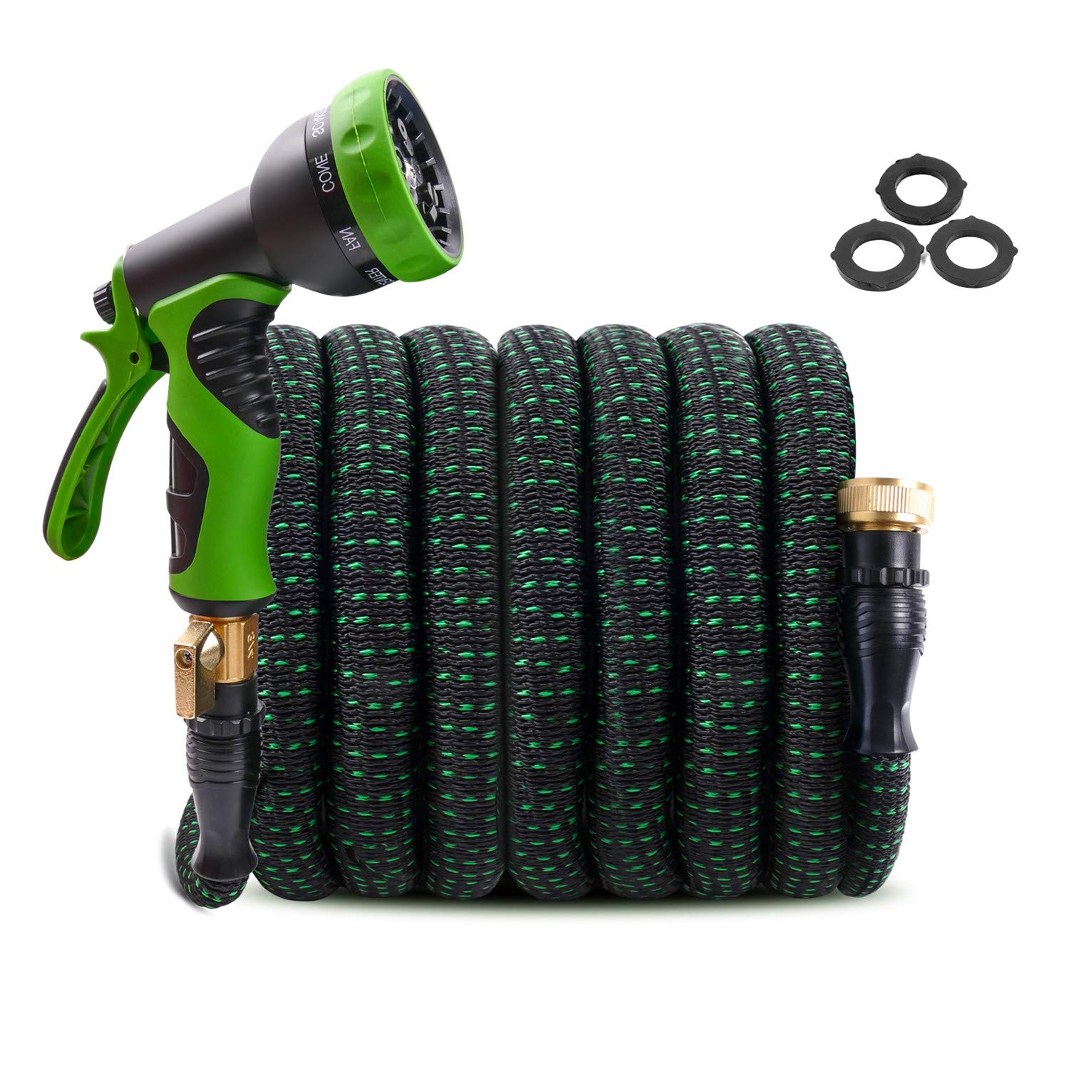 "Upgraded Expandable Garden Hose 100ft Retractable Water Hose, Flexible Garden Hose, Durable 4 Layer Latex, 3/4"" Solid Brass Connectors with 9 Modes Spray Nozzle, Ideal Choice for Watering and Washing"