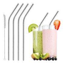 Reusable Smoothie Straws Stainless Steel - WIDE for Thick Drinks & Shakes | Eco-friendly, Metal Drinking Straws | Dishwasher-safe | Pack of 4 | Free Cleaning Brush (Extra Wide and Angled)