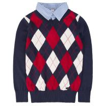 Benito & Benita Boys Argyle Sweaters with Shirt Collar Soft Pullover Uniform Sweater