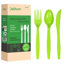 Delihom 100% Compostable Forks Spoons Knives Cutlery Set 24 PC Disposable Utensils Eco-friendly Tableware Set Potables for Camping Picnics and Trip