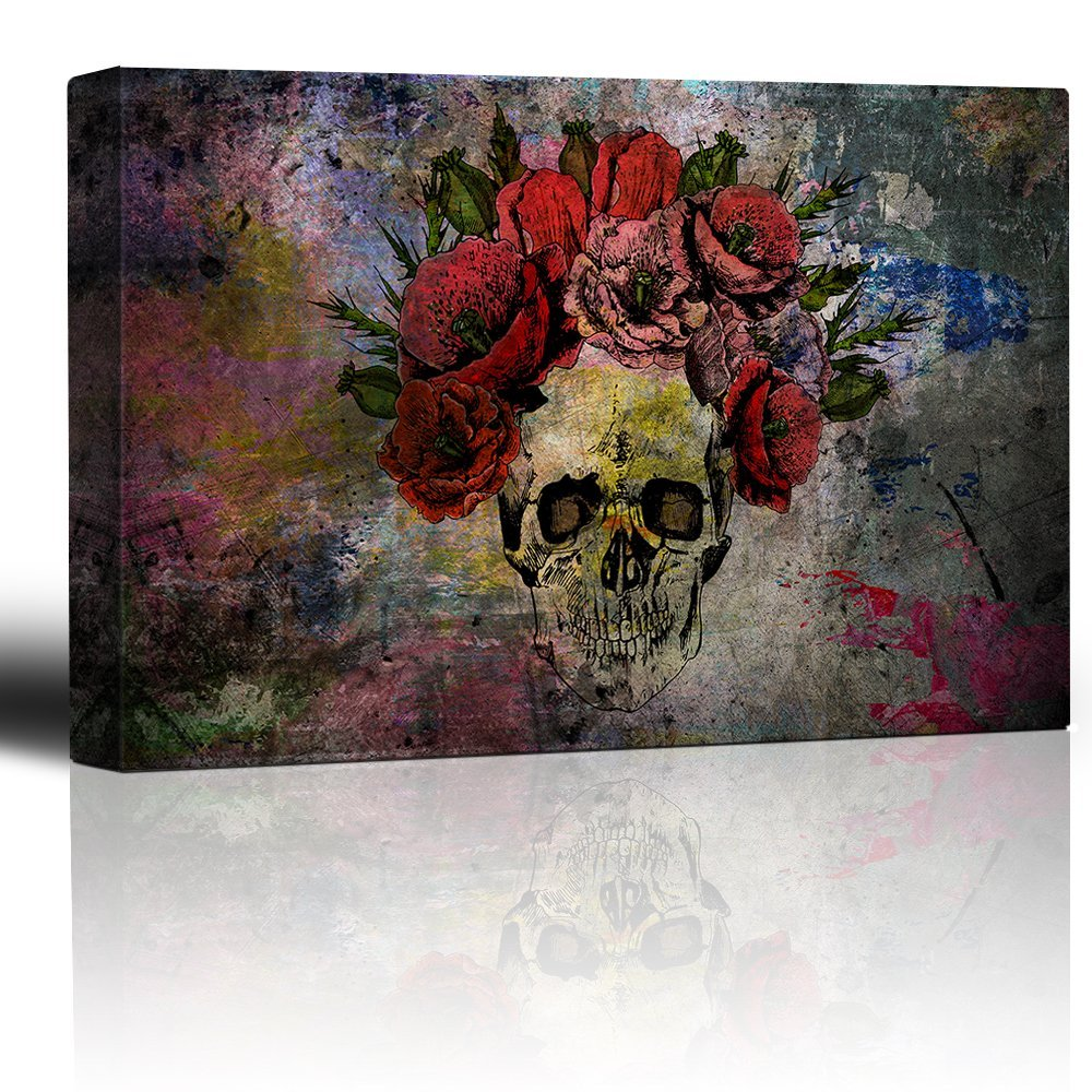 wall26 Human Skull with Roses Flowers Over Colorful Splattered Paint - Abstract Giclee Print Canvas Wall Art Home Decor - 16x24 inches