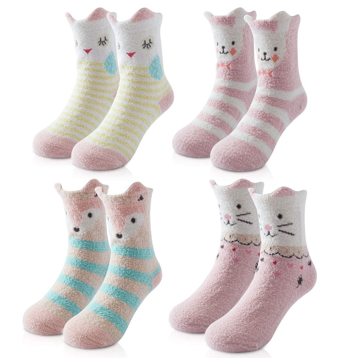 Beauttable Cute Girls Boys Cozy Fuzzy Socks,Fluffy Crew Socks,Soft Warm Winter Kids Sox